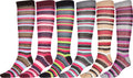 Sakkas Ladies Cute Colorful Design or Solid Knee High Socks Assorted 6-Pack#color_Thin Stripe