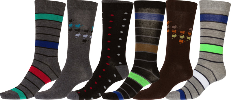 Sakkas Men's Crew High Patterned Colorful Design Dress Socks Asst Value 6-Pack