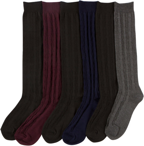 Sakkas Womens Cute Solid Knitted Knee High Sock Assorted 6-Pack