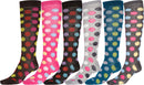 Sakkas Ladies Cute Colorful Design or Solid Knee High Socks Assorted 6-Pack Dot