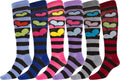 Sakkas Ladies Cute Colorful Design or Solid Knee High Socks Assorted 6-Pack#color_Heart Stripe