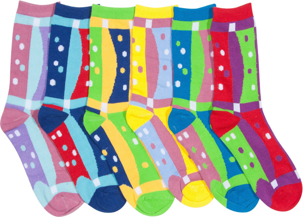 Sakkas Women's Fun Colorful Design Poly Blend Crew Socks Assorted 6-Pack#Color_Dot Grid