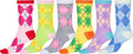 Sakkas Women's Fun Colorful Design Poly Blend Crew Socks Assorted 6-Pack#Color_Contrast Argyle