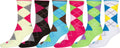 Sakkas Women's Fun Colorful Design Poly Blend Crew Socks Assorted 6-Pack#Color_Bright Arygle