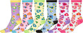 Sakkas Women's Fun Colorful Design Poly Blend Crew Socks Assorted 6-Pack#Color_Hearts
