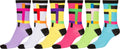 Sakkas Women's Fun Colorful Design Poly Blend Crew Socks Assorted 6-Pack#Color_Grid