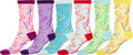 Sakkas Women's Fun Colorful Design Poly Blend Crew Socks Assorted 6-Pack#Color_Pickup Sticks