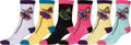 Sakkas Women's Fun Colorful Design Poly Blend Crew Socks Assorted 6-Pack#Color_Butterfly1