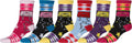 Sakkas Women's Fun Colorful Design Poly Blend Crew Socks Assorted 6-Pack#Color_Cassette