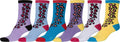 Sakkas Women's Fun Colorful Design Poly Blend Crew Socks Assorted 6-Pack#Color_Leopard