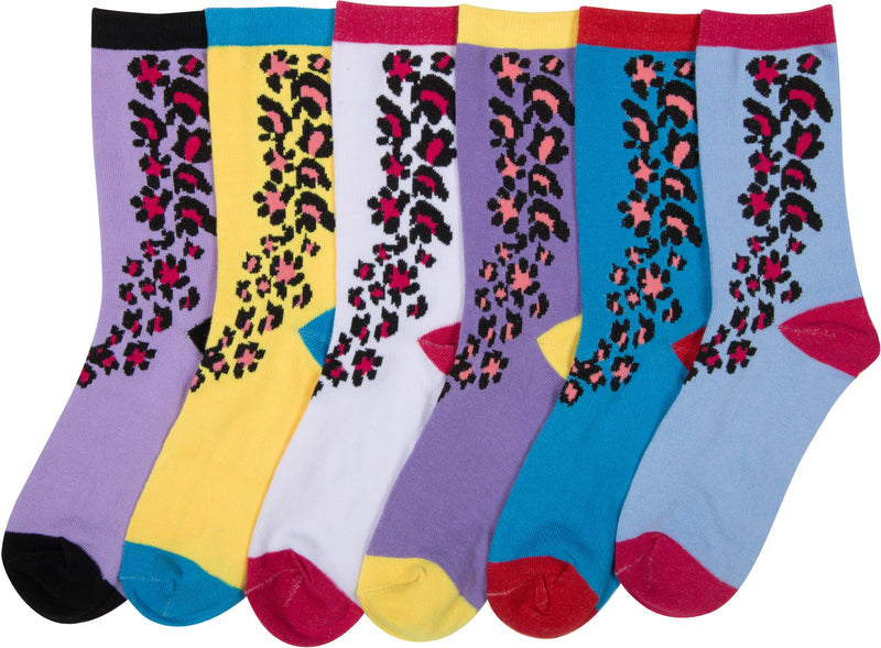 Sakkas Women's Fun Colorful Design Poly Blend Crew Socks Assorted 6-Pack