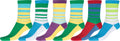 Sakkas Women's Fun Colorful Design Poly Blend Crew Socks Assorted 6-Pack#Color_Stripe4