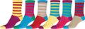 Sakkas Women's Fun Colorful Design Poly Blend Crew Socks Assorted 6-Pack#Color_Stripe3