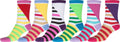 Sakkas Women's Fun Colorful Design Poly Blend Crew Socks Assorted 6-Pack#Color_Stripe1