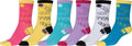 Sakkas Women's Fun Colorful Design Poly Blend Crew Socks Assorted 6-Pack#Color_Hashtags