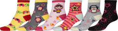 Sakkas Girl's Creative Fun Cotton Blend Crew Socks Assorted Color 6-Pack