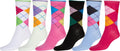 Sakkas Women's Fun Colorful Design Poly Blend Crew Socks Assorted 6-Pack#Color_Solid Argyle