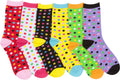 Sakkas Women's Fun Colorful Design Poly Blend Crew Socks Assorted 6-Pack#Color_Dot