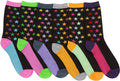 Sakkas Women's Fun Colorful Design Poly Blend Crew Socks Assorted 6-Pack#Color_Star