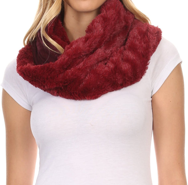 Sakkas Emilia Super Soft  Knit Infinity Scarf Reversible Casual and Effortless#color_YC16101-Burgundy
