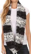 Sakkas Ester Super Soft Faux Fur Mink Infinity Scarf Casual and Effortless#color_YC16100-Grey