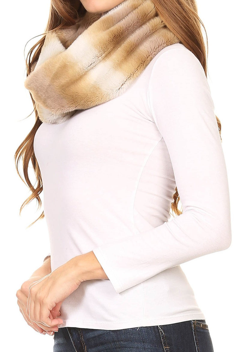 Sakkas Ester Super Soft Faux Fur Mink Infinity Scarf Casual and Effortless