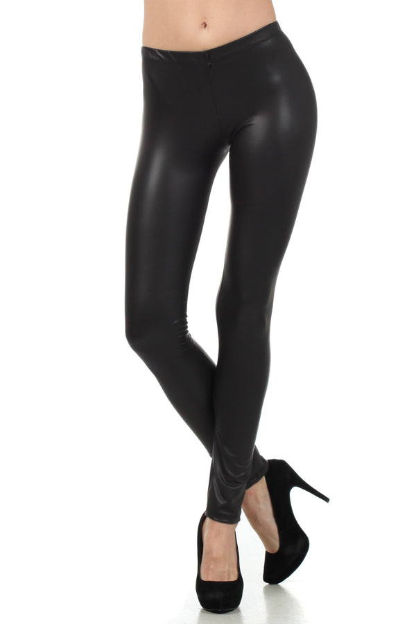 Sakkas Footless Ultra Slim Fit Matte Liquid Wet Look Leggings#color_Black