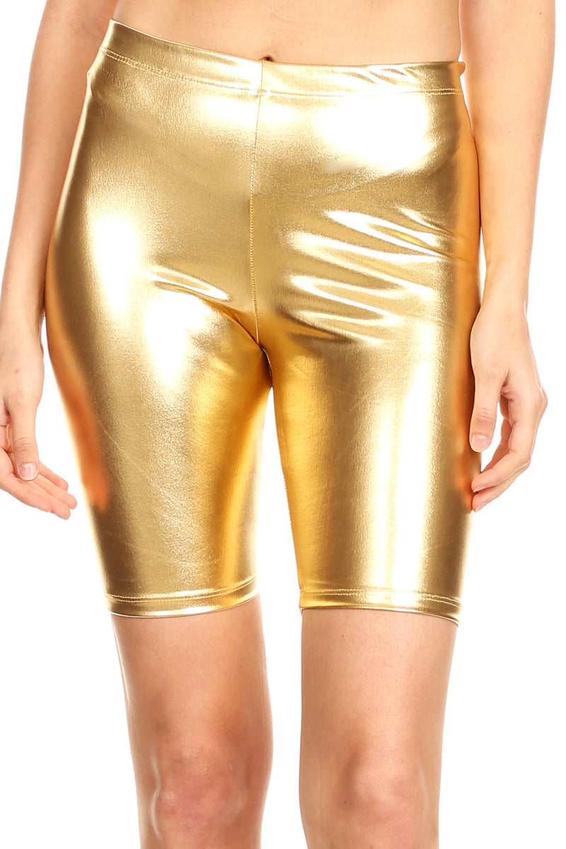 Sakkas Women's Shinny Metallic Bike Shorts Stretchy Unisex - Made in USA
