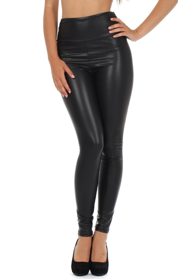 Sakkas Matte Liquid High Waist Stretch Leggings - Made in USA#color_Black