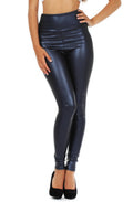 Sakkas Matte Liquid High Waist Stretch Leggings - Made in USA#color_Navy
