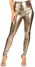 Sakkas Matte Liquid High Waist Stretch Leggings - Made in USA#color_Pewter