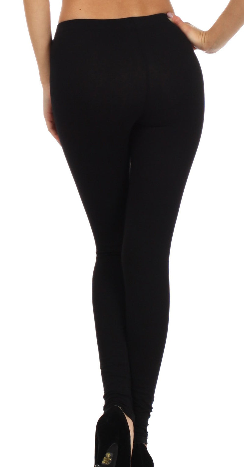 Sakkas Cotton Lycra Blend Solid Color Footless Stretch Leggings - Made in USA