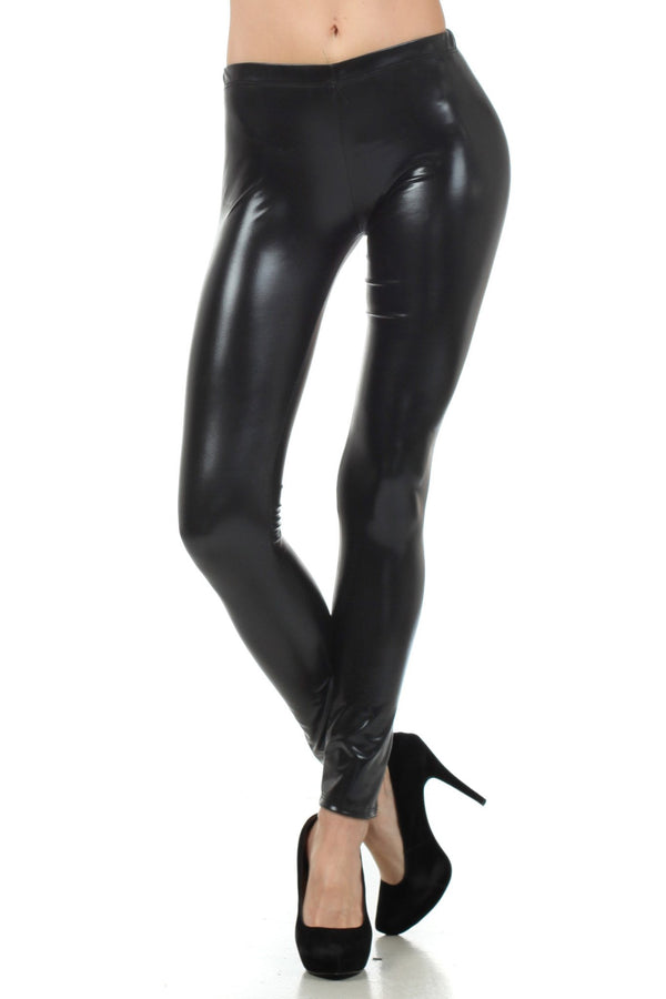 Sakkas Footless Liquid Wet Look Shiny Metallic Stretch Leggings#color_Black