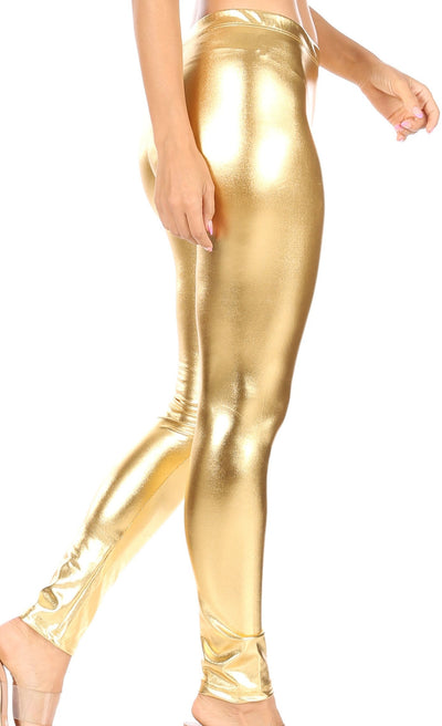 group-Gold (Sakkas Footless Liquid Wet Look Shiny Metallic Stretch Leggings)