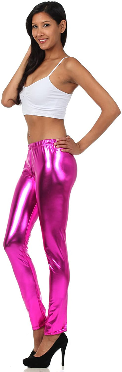 group-Pink (Sakkas Footless Liquid Wet Look Shiny Metallic Stretch Leggings)