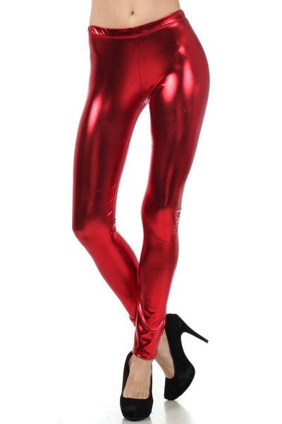 group-Red (Sakkas Footless Liquid Wet Look Shiny Metallic Stretch Leggings)