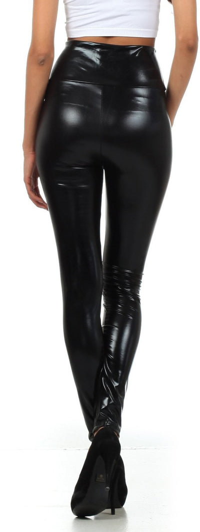 group-Black (Sakkas Shiny Liquid Metallic High Waist Stretch Leggings - Made in USA)