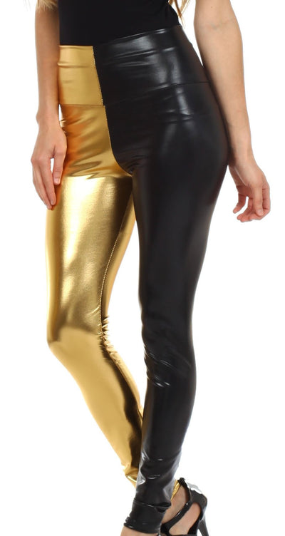 group-Black / Gold (Sakkas Shiny Liquid Metallic High Waist Stretch Leggings - Made in USA)