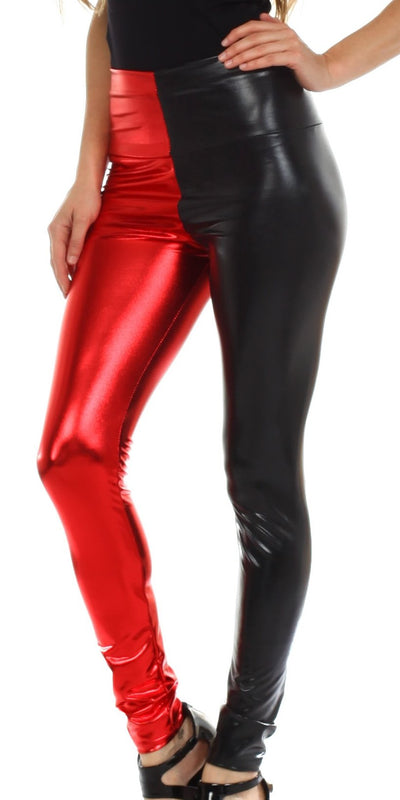 group-Black / Red (Sakkas Shiny Liquid Metallic High Waist Stretch Leggings - Made in USA)