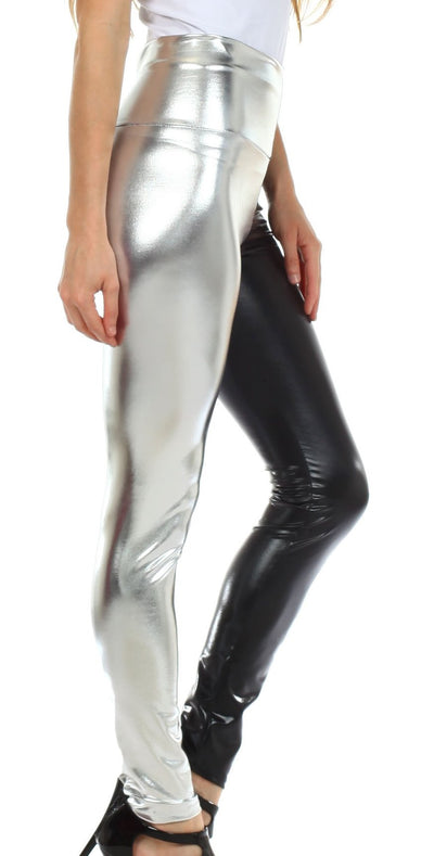 group-Black / Silver (Sakkas Shiny Liquid Metallic High Waist Stretch Leggings - Made in USA)