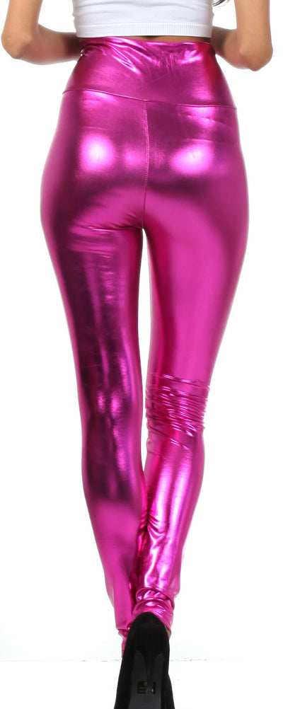 group-Pink (Sakkas Shiny Liquid Metallic High Waist Stretch Leggings - Made in USA)