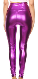 Sakkas Shiny Liquid Metallic High Waist Stretch Leggings - Made in USA