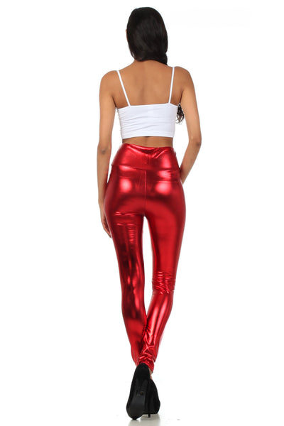 group-Red (Sakkas Shiny Liquid Metallic High Waist Stretch Leggings - Made in USA)