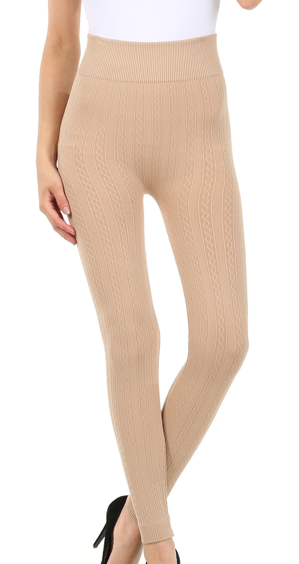 Sakkas Cable Knit Fleece Lined Leggings#color_Beige