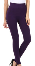 Sakkas Cable Knit Fleece Lined Leggings#color_Purple