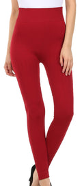 Sakkas Cable Knit Fleece Lined Leggings#color_Red