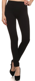 Sakkas Cable Knit Fleece Lined Leggings#color_Black