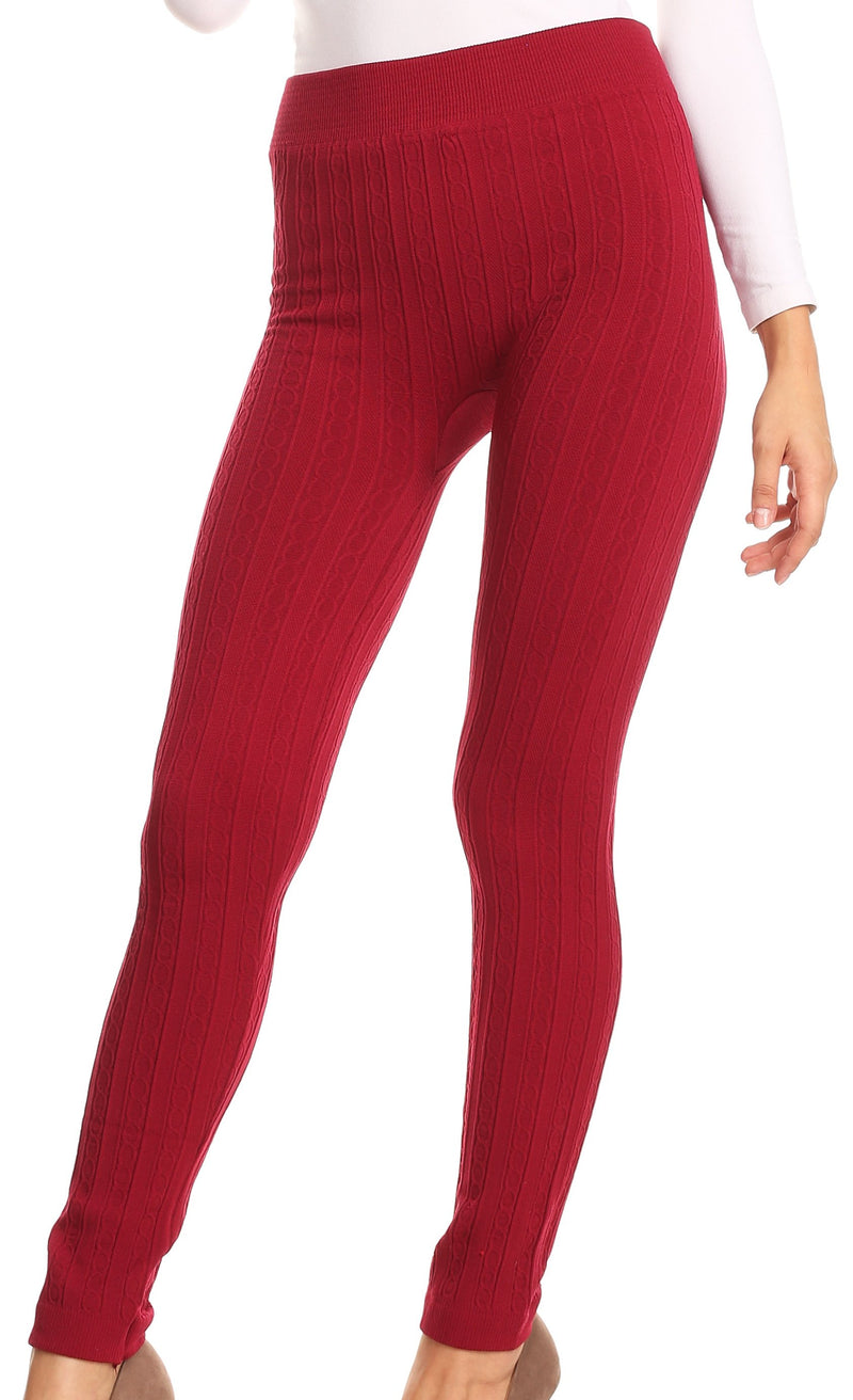 Sakkas Cable Knit Fleece Lined Leggings