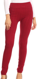 Sakkas Cable Knit Fleece Lined Leggings#color_Burgundy