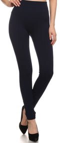 Sakkas Cable Knit Fleece Lined Leggings#color_Navy